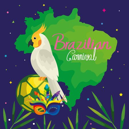poster of carnival brazilian with parrot and traditional icons vector illustration design