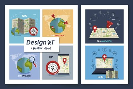 six designs of gps navigation with icons vector illustration design