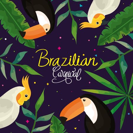 poster of carnival brazilian with parrots and toucans vector illustration design