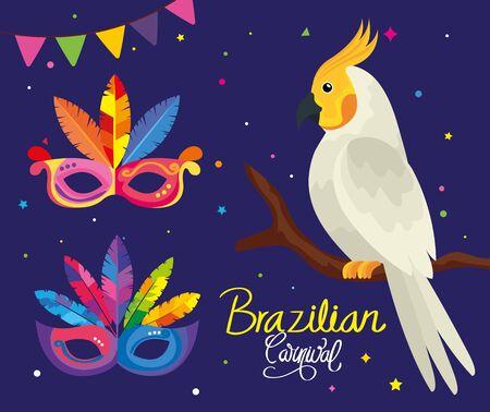 poster of carnival brazilian with parrot and masks vector illustration design Иллюстрация