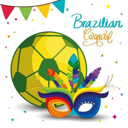 poster of carnival brazilian with mask carnival and ball soccer vector illustration design Иллюстрация