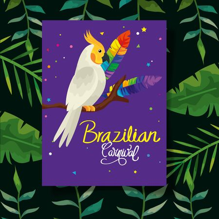 poster of carnival brazilian with parrot and leaves vector illustration design