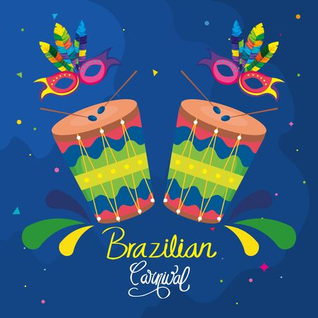 poster of carnival brazil with drums and decoration vector illustration design