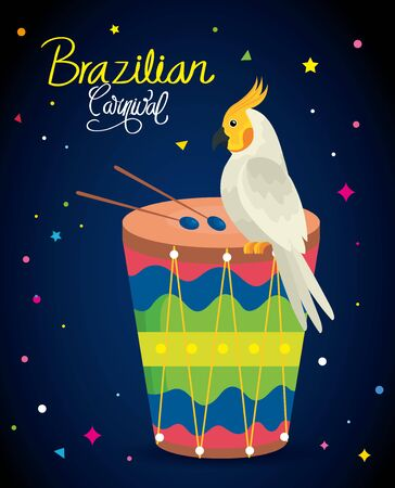 poster of carnival brazilian with parrot and drum vector illustration design
