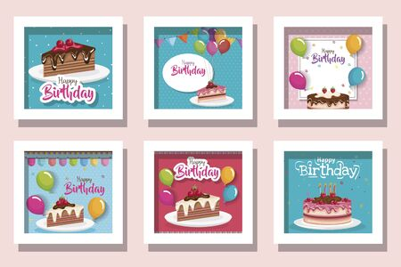 bundle of cards happy birthday with delicious food and decoration vector illustration design