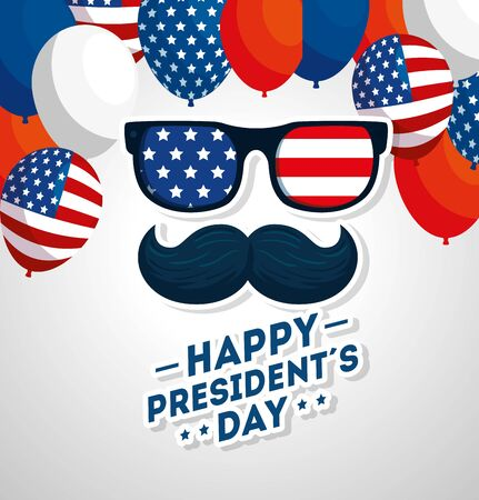 happy presidents day with moustache and glasses vector illustration design