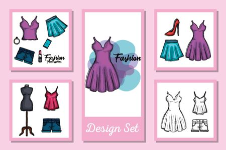 Female fashion cloth set design, Style wear store shop retail fabric and made theme Vector illustration Ilustracja