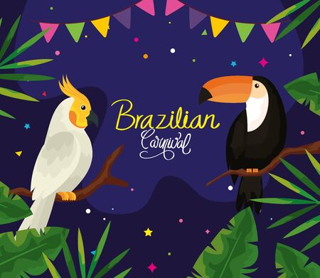poster of carnival brazilian with parrot and toucan vector illustration design