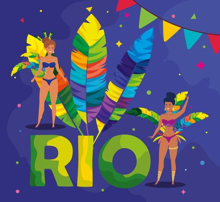 poster carnival of rio with exotic dancer women and decoration vector illustration design Иллюстрация
