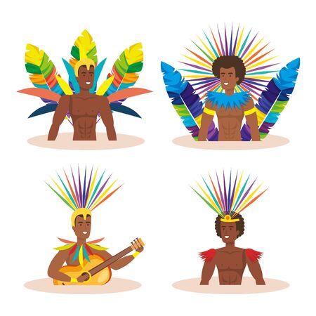group of exotic dancers men brazil vector illustration design