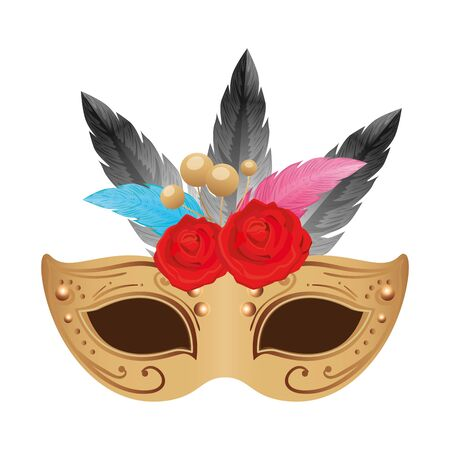 elegant mask with feathers and roses flowers vector illustration design