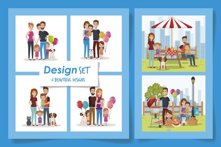 six designs of cute family in different places vector illustration design