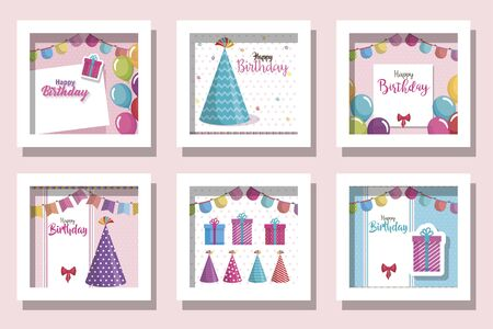 bundle of cards happy birthday and decoration vector illustration design