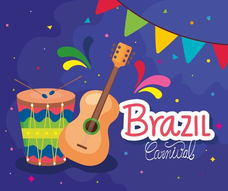 poster of brazil carnival with guitar and drum vector illustration design Иллюстрация