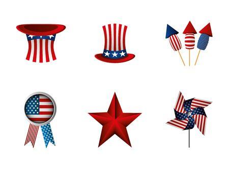 bundle of independence usa icons vector illustration design