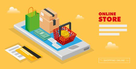 online store with smartphone and icons illustration design 일러스트