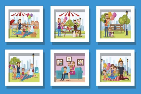 bundle of cute family in different places vector illustration design Stock Illustratie