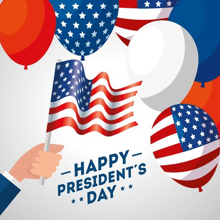 Balloons and flag design, Usa happy presidents day united states america independence nation us country and national theme Vector illustration Иллюстрация
