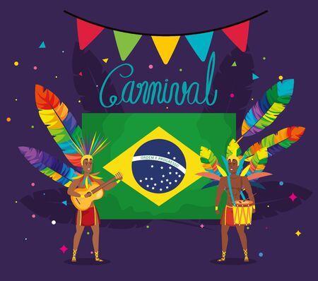 poster of carnival brazil with exotic dancer men and decoration vector illustration design Иллюстрация