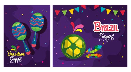 set of poster carnival brazil with decoration vector illustration design