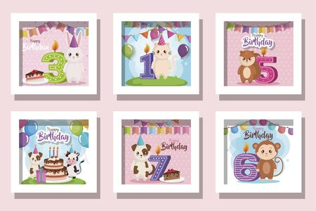 bundle of cards happy birthday with cute animals and decoration vector illustration design Иллюстрация
