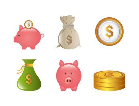 set of business commerce icons vector illustration design