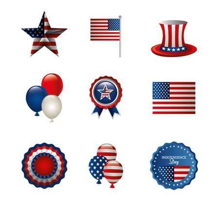bundle of independence usa icons vector illustration design