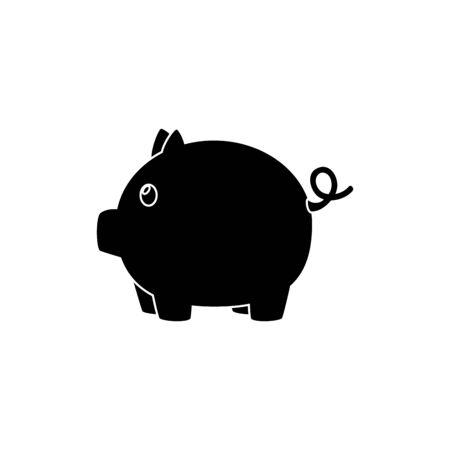 silhouette of piggy bank saving isolated icon vector illustration design Stock Illustratie