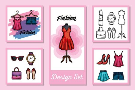 Female fashion cloth set design, Style wear store shop retail fabric and made theme Vector illustration 向量圖像
