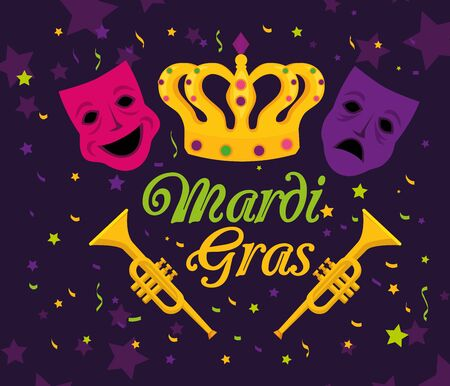 Mardi gras masks and crown design, Party carnival decoration celebration festival holiday fun new orleans and traditional theme Vector illustration
