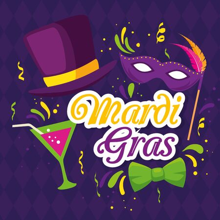 Mardi gras mask hat and cocktail design, Party carnival decoration celebration festival holiday fun new orleans and traditional theme Vector illustration