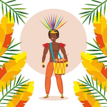 exotic dancer brazil man with decoration vector illustration design