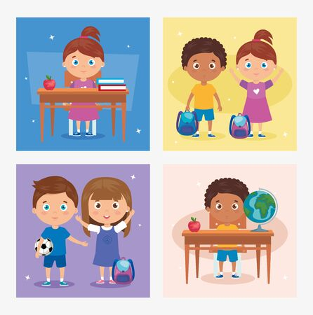 set of card with children students with school supplies , back to school vector illustration design 向量圖像