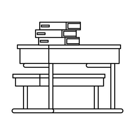 pile text books in school desk vector illustration design 向量圖像