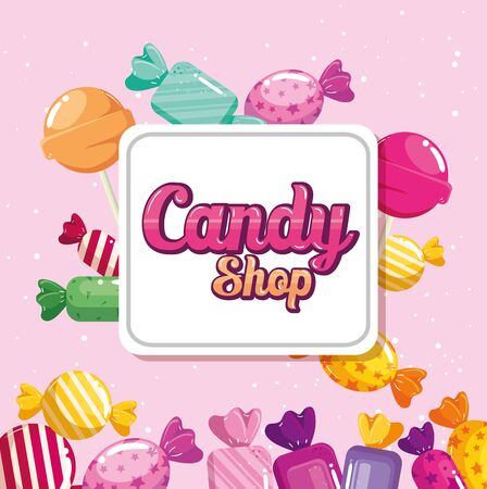 poster of candy shop with caramels vector illustration design 일러스트
