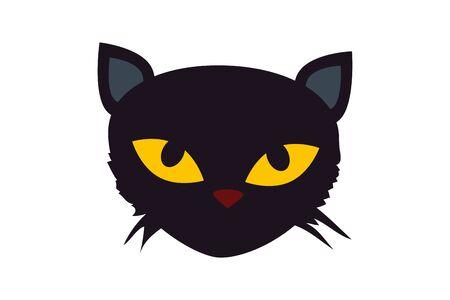 face of black cat halloween isolated icon vector illustration design Иллюстрация
