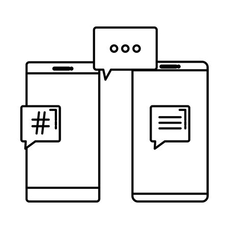 smartphones with speech bubbles hashtag symbol vector illustration design
