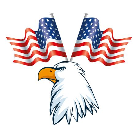 Usa eagle and flags design, United states america independence labor day nation us country and national theme Vector illustration