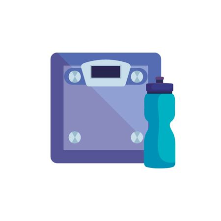 scale measure weight with bottle water isolated icon vector illustration design