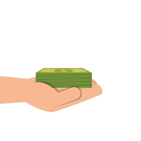 hand with pile of bills money isolated icon vector illustration design