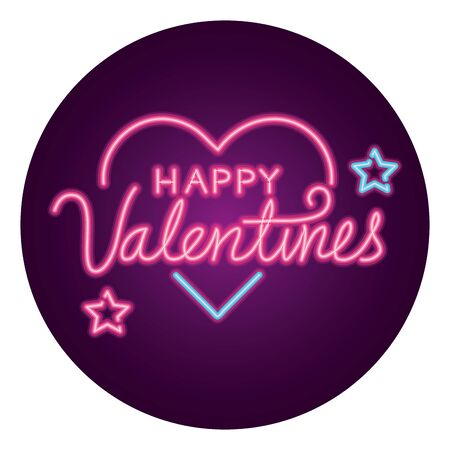 happy valentines day lettering with heart and stars isolated vector illustration design