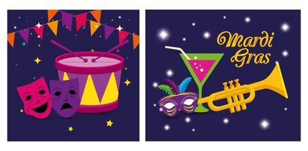 Mardi gras masks trumpet cocktail and drum design, Party carnival decoration celebration festival holiday fun new orleans and traditional theme Vector illustration Ilustracja
