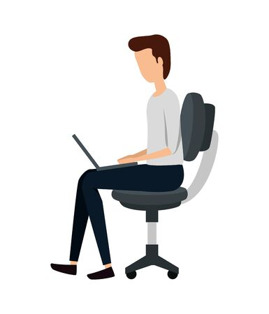 businessman using laptop in office chair vector illustration design