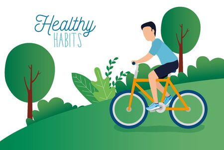 healthy lifestyle poster with athlete in park vector illustration design Çizim