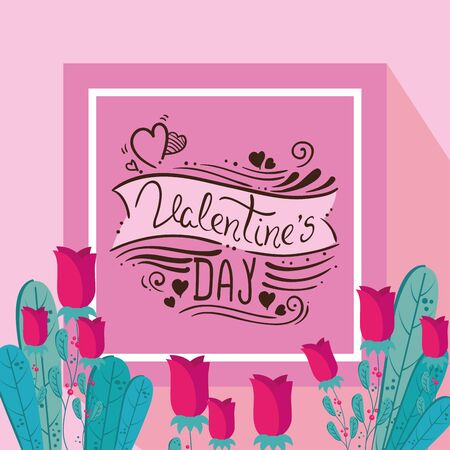happy valentines day card with roses decoration vector illustration design