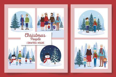 six designs of christmas people in the winter landscape vector illustration design Çizim