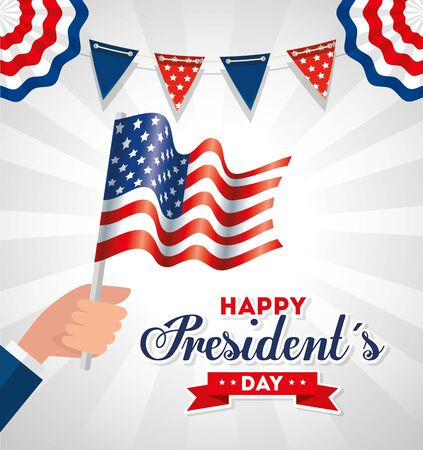 Hand holding flag design, Usa happy presidents day united states america independence nation us country and national theme Vector illustration