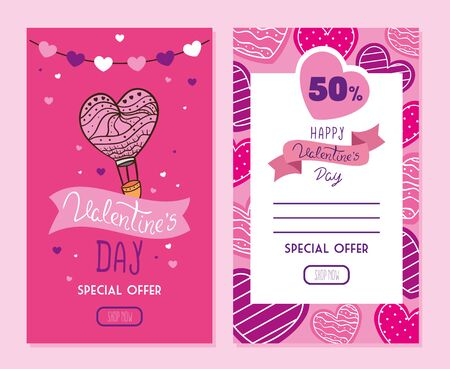set of happy valentines day cards with offer vector illustration design