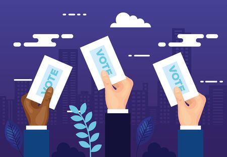 hands with vote and cloudscape vector illustration design