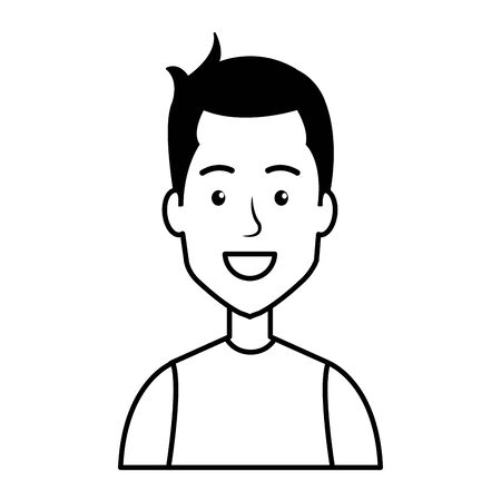 young man with urban style character vector illustration design Çizim
